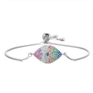 Silver Rainbow CZ Evil Eye Adjustable Bracelet